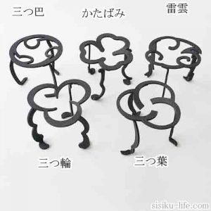 日本の伝統的な家紋をモチーフとしたオリジナル五徳三徳全5種